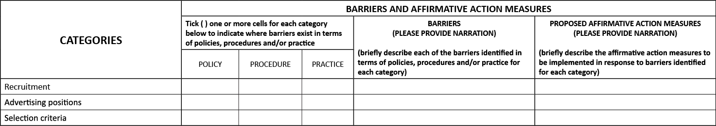 Employment Equity Plan EEA 12 Barriers and Affirmative Measures